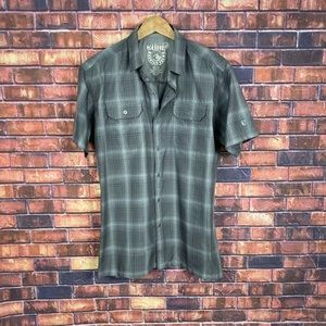 Kuhl Mens Light-Grey Plaid Button Front Outdoors